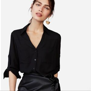 Express Small Black Button Down Blouse